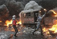 Protesters clash with police in Kiev, Ukraine, January 22, 2014, photo: CTK