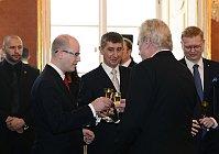 Bohuslav Sobotka, Andrej Babiš, Miloš Zeman, Pavel Bělobrádek, photo: CTK