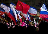 Pro-Russian people celebrate after residents in Crimea voted overwhelmingly to secede from Ukraine and join Russia in Simferopol, Ukraine, March 16, 2014, photo: CTK
