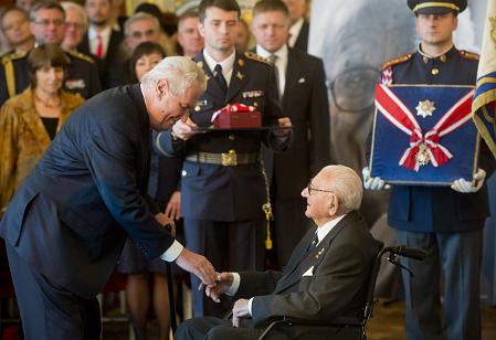 Miloš Zeman and Nicholas Winton, photo: ČTK