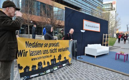 Protest der Gegner des Tagebaus in der Lausitz (Foto: ČTK)