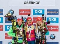 Gabriela Koukalová, Laura Dahlmeier und Eva Puskarčíková (Foto: ČTK)