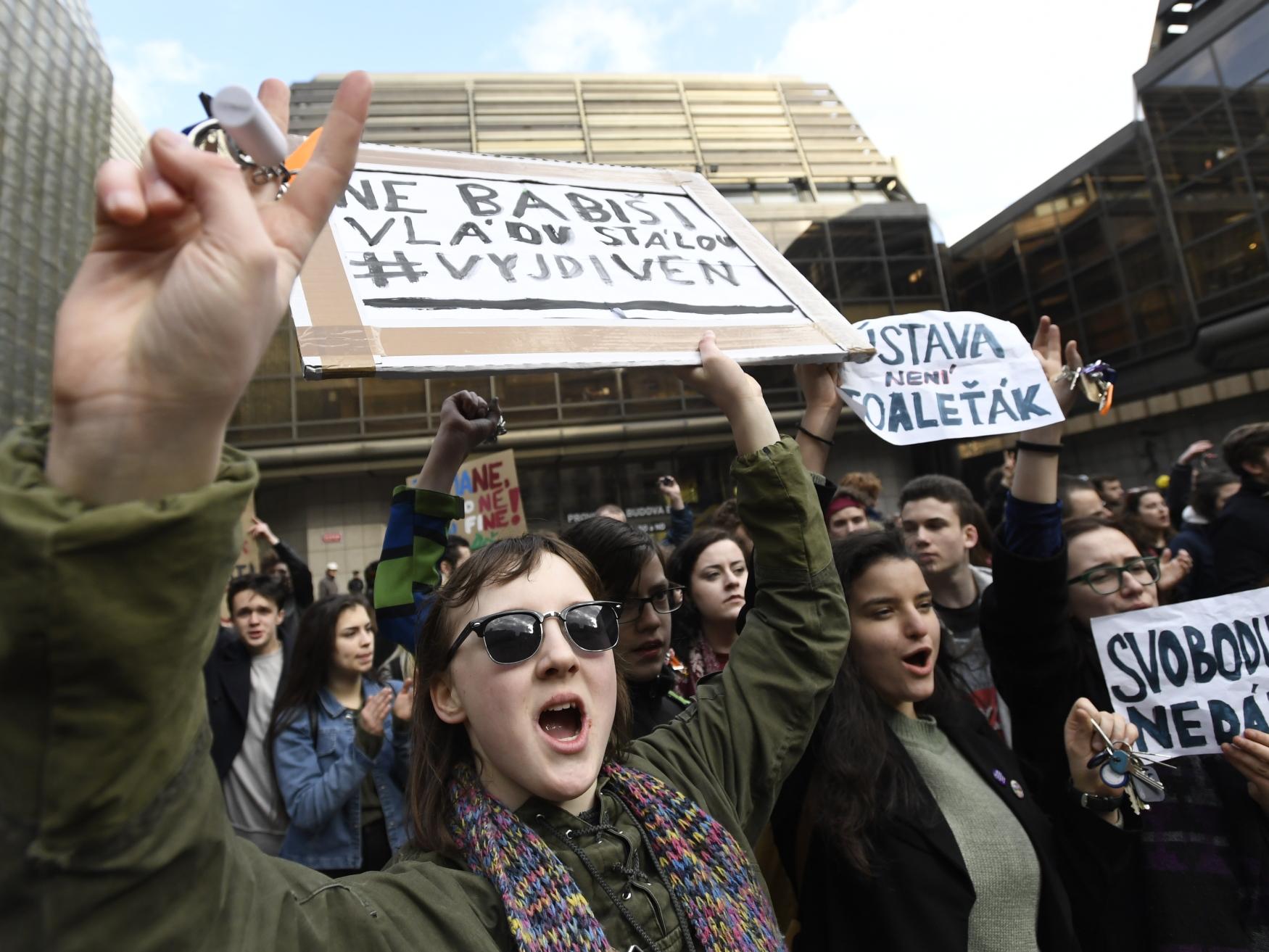 Students' gathering at Václav Havel square, Prague, March 15, 2018, photo: CTK