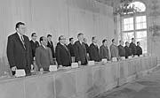Пленум ЦК КПЧ в июне 1968 года - слева: Олдржих Швестка, Эмиль Риго, Йозеф Шпачек, Йозеф Смрковски, Александр Дубчек, Олдржих Черник, Драгомир Колдер, Франтишек Кригель, Ян Пиллер и Франтишек Барбинек (Фото: ЧТК)