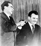 Rudolf Slánský and Klement Gottwald (right) in 1948, photo: CTK