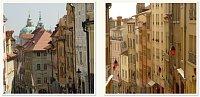 A gauche : la rue Nerudova à Mala Strana. A droite : la montée de la Grande Côte à la Croix-Rousse, photo: AFTL