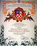 Čestná listina Povelja Bjelovarské-biogorské županie v Chorvatsku na výraz ocenění práce ČSÚZ, 2004
