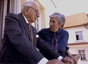 Susanne Medas with Nicholas Winton