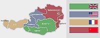 Besatzungszonen in Österreich 1945–1955 (Quelle: C.Lingg, Wikimedia Free Domain)