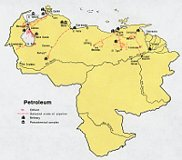 Mapa del petróleo de Venezuela, fuente: Public Domain