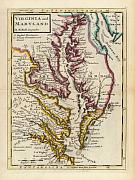 Map of Maryland and Virginia created by Augustine Herman, photo: www.davidrumsey.com