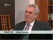 Miloš Zeman vnedělním pořadu televize Prima, zdroj: www.iprima.cz