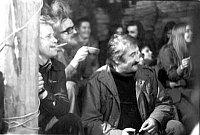 Vaclav Havel und Pavel Landovsky auf einem Konzert der ´Plastic People of the Universe´