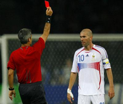 Referee shows the red card to France's Zineidine Zidane