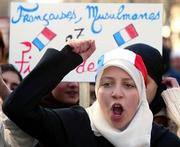 Demonstration against the ban of headscarves in schools
