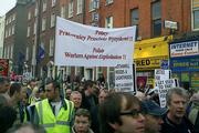 Polish workers in Dublin taking part in a protest agains improper working conditions