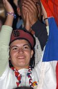 Bosnian woman supporter of the Serbs Democratic Party (SDS) cheers during pre-election rally in Baja Luka