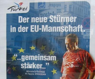 "This poster in the streets of Vienna featured Turkish primeminiter as the ""New Voice of Europe"""