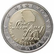 Slovenia's two euro coin features the country's foremost poet, France Prešeren