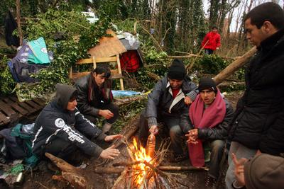 Migrants gather around a fire, in woodland where they campnear the harbour of Calais