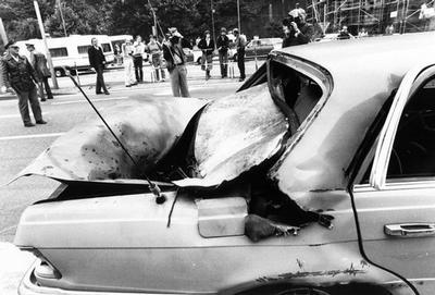 The destroyed car of U.S. General Frederick J. Kroesen is seen in Heidelberg, Germany, after terrori