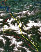 The new Gotthar Base Tunnel together on a map of alps
