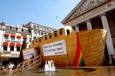 A 40-foot model Greenpeace arc relating to global warming and showing ways to treat the planet bette