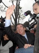 Center-right presidential candidate Francois Bayrou waves to supporters