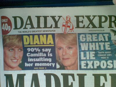 Princess Diana on the front page of a tabloid