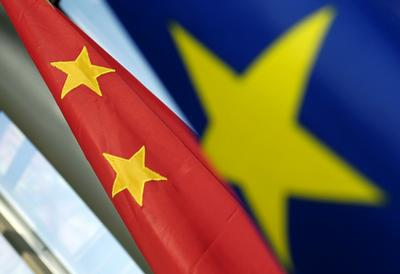 Flags of European Union and China in detail