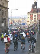 Protest ride on bikes through the centre of Prague