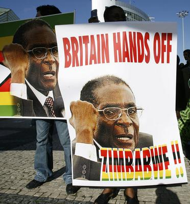 Protestors demonstrate outside of an EU Africa summit in Lisbon last Saturday