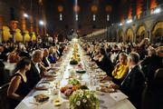 Guest are seen at the traditional Nobel banquet in the Stockholm Town Hall