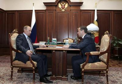 Russian President Vladimir Putin with his hand-picked successor Dmitry Medvedev, in the Kremlin (Pho