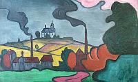 Projekt über den sogenannten Hagenbund - Bohumil Kubišta: Landschaft mit Kirchlein