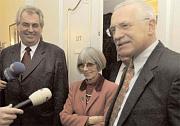 Jaroslava Moserova with Milos Zeman and Vaclav Klaus