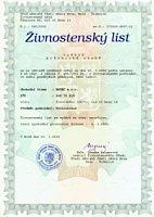 Tschechischer Gewerbeschein