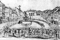 Mercado de los Caballos con la Puerta de los Caballos