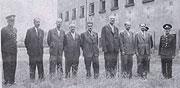 Minister der Protektoratsregierungen auf dem Hof des Gefängnisses in Pankrac im Mai 1945 - zweiter von links Hruby, weiter Kamenicky, Beran, Krejci, Bienert, Kalfus