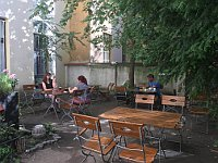 Outdoor seating at the back of  Kafe v kufru, photo: Ian Willoughby