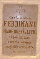 Náhrobní kámen F. Bubny v kostele v Horním Jelení, foto: Miroslav Krupička / Český rozhlas - Radio Praha