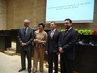 Zleva Přemysl Sobotka, Ája Vrzánová, Miroslav Krupička a Michal Lukeš při zahájení konference