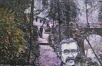 Svatojánské lázně v době své slávy. Zdroj: výřez z informační tabule, na obrázku také podobizna Erbena