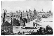 Charles Bridge, the etching according the pattern by V. Morstadt