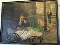 Viktor Oliva's painting The Absinthe Drinker hangs at Café Slavia, photo: Ian Willoughby