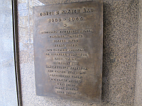 The plaque commemorating the radio staff who were killed in the WWII
