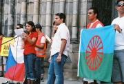 Demonstrace Romů a jejich přátel v Karlíně (Foto: Petr Axmann)