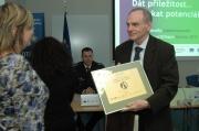 Za EKOLTES Hranice, a.s., certifikát převzal ředitel Bc. Milan Vinkler, MSc., Ph.D. (Foto: Jana Šustová)