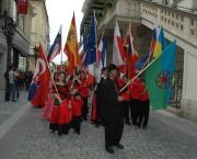 Vlajkonoši při defilé (Foto: Jana Šustová)