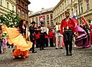 Colourful parade through the centre of Prague